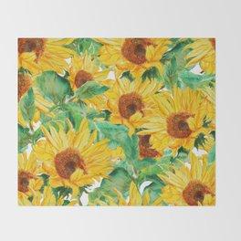 sunflower pattern Throw Blanket
