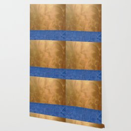 Copper Metallic With Tuscan Blue Stripe Trim Wallpaper