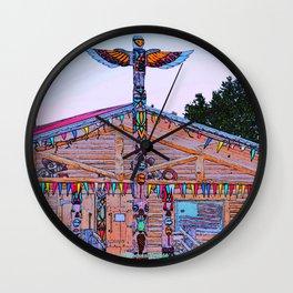 Totem Log Cabin Wall Clock