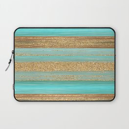 Turquoise Brown Faux Gold Glitter Stripes Pattern Laptop Sleeve