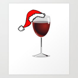 Christmas Glass of Red Wine With Santa Hat Art Print