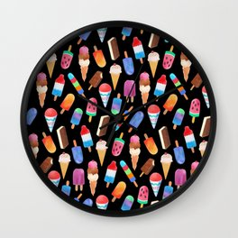Black Summer Ice Cream and Popsicles Wall Clock