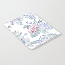 Pretty Blue Pink Succulents Garden Notebook