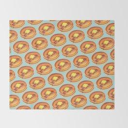 Pancakes Pattern - Blue Throw Blanket