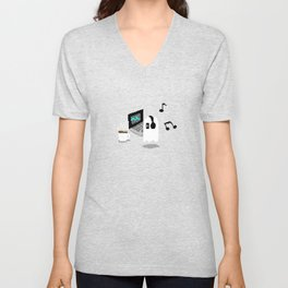 Chilling Napstablook With Laptop and Coffee Undertale Pixel Art Cute Unisex V-Neck