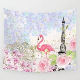Elegant vintage french Eiffel Tower watercolor flamingo floral Wall Tapestry