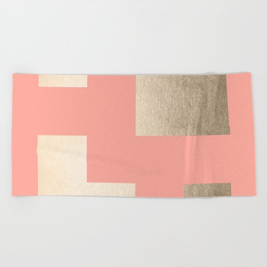 Simply Geometric White Gold Sands on Salmon Pink Beach Towel