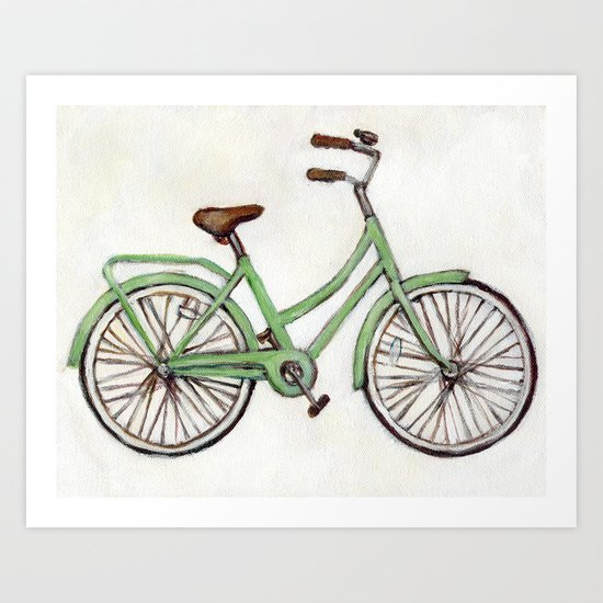 Bicycle / Green Cruiser Art Print