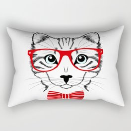 Hipster Cat with Red Glasses Rectangular Pillow