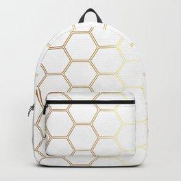 Geometric Honeycomb Pattern - Gold #170 Backpack