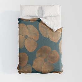 Abstract Metal Copper Flowers on Emerald Comforters