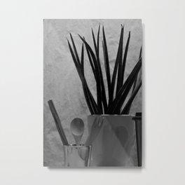 Agave, Spoon tea & Fork in Cup, A Metal Print