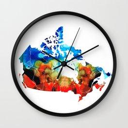 Canada - Canadian Map By Sharon Cummings Wall Clock