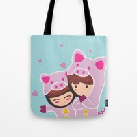 suits Tote Bags featuring Piggy-Suits by I love Bubbah