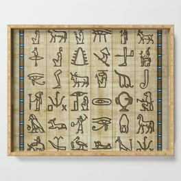 Ancient Egyptian Hieroglyphs on Papyrus Serving Tray