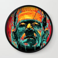 frankenstein Wall Clocks featuring Frankenstein by nicebleed