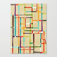 mondrian Canvas Prints featuring The map (after Mondrian) by Picomodi