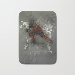 On Ice - Ice Hockey Player Modern Art Bath Mat
