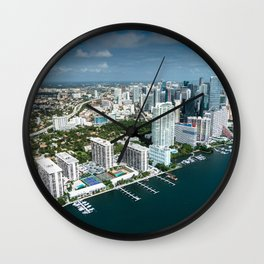 miami downtown aerial view Wall Clock