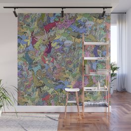 Colorful Flying Cats Wall Mural