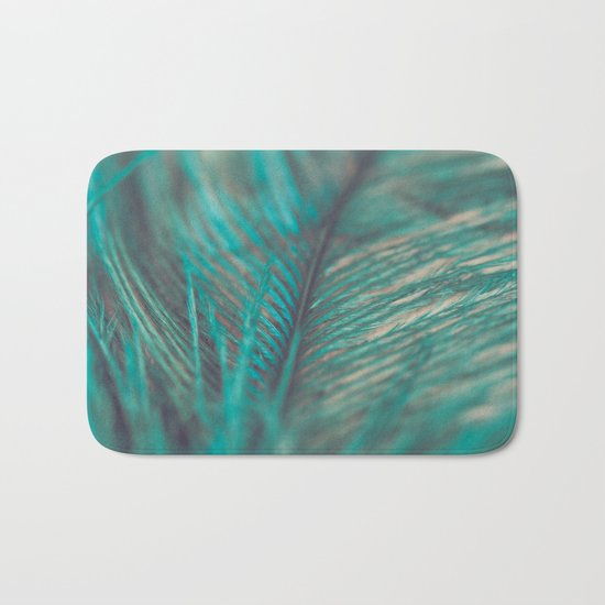 Turquoise Feather Close Up Bath Mat