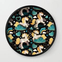 Kicking off some magic // black background white and grey unicorns aqua and mint hearts clouds and rainbows golden lines Wall Clock