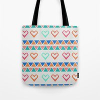 knit Tote Bags featuring Heart Knit  by minniemorrisart