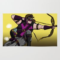archer Area & Throw Rugs featuring Steampunk archer by mystmoon