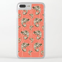 Chameleon Oneness in Midnight Vintage Psychedelic Salmon Space Clear iPhone Case