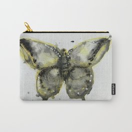 Yellow and Gray Butterfly Carry-All Pouch