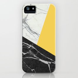 Black and White Marble with Pantone Primrose Yellow iPhone Case