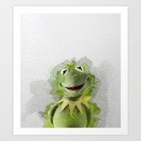 kermit Art Prints featuring Kermit by Gaboneto