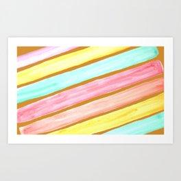 Retro Watercolor Stripes  Art Print
