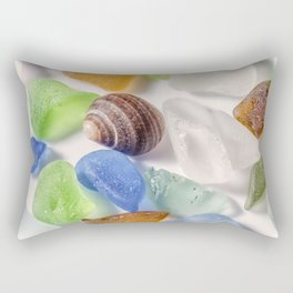 Tiny sea shell and Beach Glass Rectangular Pillow