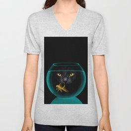 Black Cat Goldfish II Unisex V-Neck