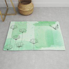 Pastel Mint Watercolor Rug