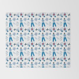 Wellness Health Medical Symbols Doctors and  Nurse Throw Blanket