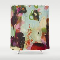 "flora bowley Shower Curtains featuring ""Deep Embrace"" Original Painting by Flora Bowley by Flora Bowley"