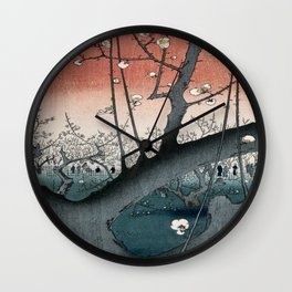 botanical ukiyo-e painting nature garden spring japanese plum flower Wall Clock