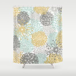 Floral Abstract Print, Yellow, Gray, Aqua Shower Curtain
