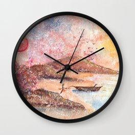 Paradise Watercolor Painting Wall Clock