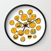 emoji Wall Clocks featuring Emoji Family by Jason Travis
