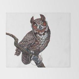 Great Horned Owl with Headphones Throw Blanket