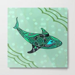 Tribal Green Ora Whale Metal Print