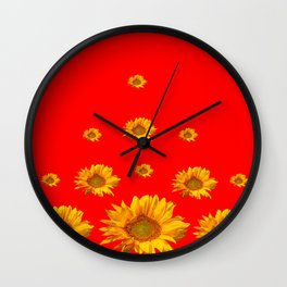 FLOATING GOLDEN YELLOW SUNFLOWERS RED COLOR Wall Clock