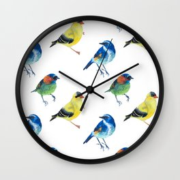 watercolor exotic birds seamless pattern Wall Clock