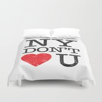 new york Duvet Covers featuring New York, New York by Text Guy