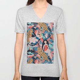 Tropical Girls with Cheetah Unisex V-Neck