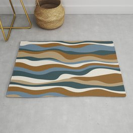 Cordillera Stripe: Teal Blue & Rusty Orange Combo Rug