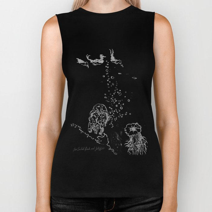 Two Tailed Duck and Jellyfish Black and Dark Deep Sea Biker Tank